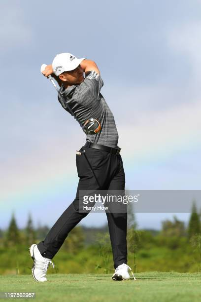 Xander Schauffele of the United States plays his shot from the 16th tee during the third round of the Sentry Tournament Of Champions at the Kapalua...
