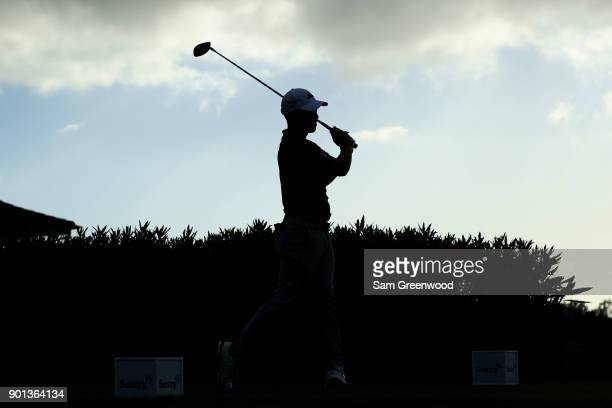 Xander Schauffele of the United States plays his shot from the 17th tee during the first round of the Sentry Tournament of Champions at Plantation...