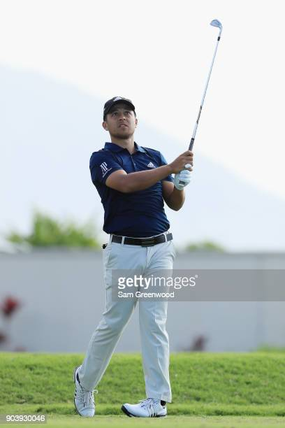 Xander Schauffele of the United States plays his shot from the 17th tee during round one of the Sony Open In Hawaii at Waialae Country Club on...