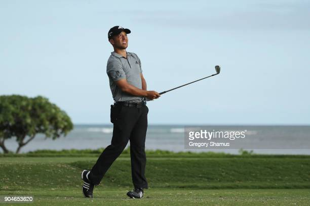 Xander Schauffele of the United States plays his shot from the 17th tee during round three of the Sony Open In Hawaii at Waialae Country Club on...