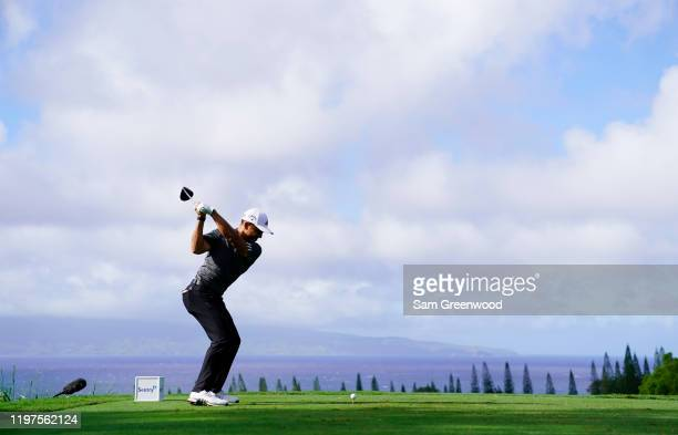 Xander Schauffele of the United States plays his shot from the 18th tee during the third round of the Sentry Tournament Of Champions at the Kapalua...