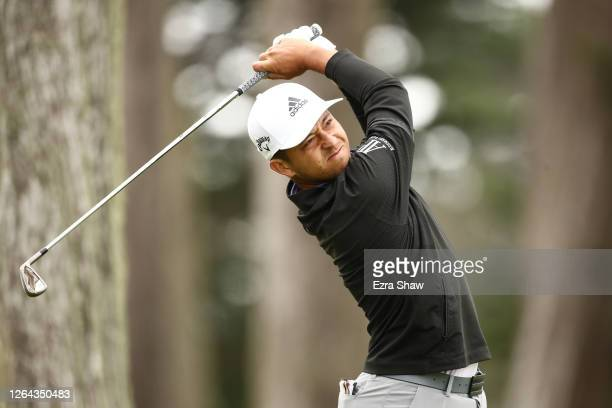 Xander Schauffele of the United States plays his shot from the eighth tee during the first round of the 2020 PGA Championship at TPC Harding Park on...