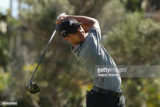 Xander Schauffele of the United States plays his shot from the first tee during round three of the Sony Open In Hawaii at Waialae Country Club on...