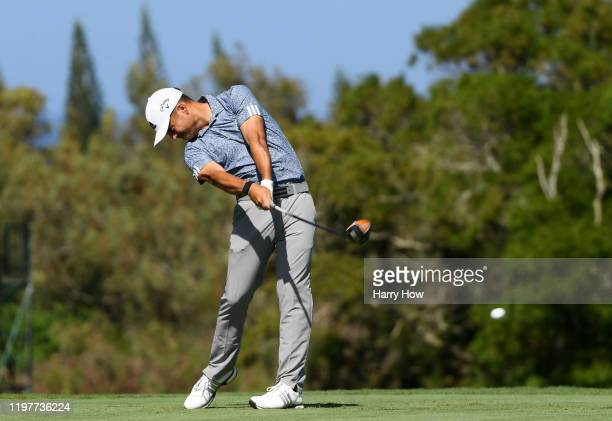 Xander Schauffele of the United States plays his shot from the fourth tee during the final round of the Sentry Tournament Of Champions at the Kapalua...