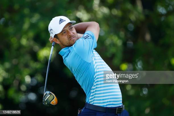 Xander Schauffele of the United States plays his shot from the ninth tee during the second round of the Charles Schwab Challenge on June 12 2020 at...