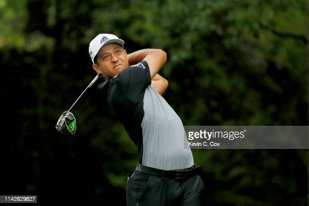 Xander Schauffele of the United States plays his shot from the second tee during the final round of the Masters at Augusta National Golf Club on...