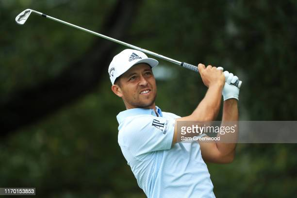 Xander Schauffele of the United States plays his shot from the second tee during the final round of the TOUR Championship at East Lake Golf Club on...