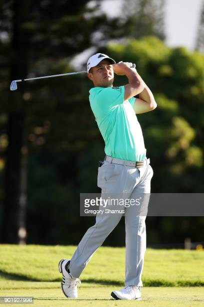 Xander Schauffele of the United States plays his shot from the second tee during the third round of the Sentry Tournament of Champions at Plantation...