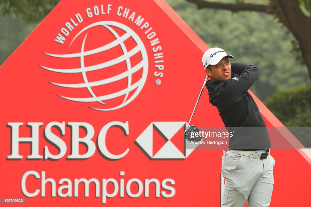 Xander Schauffele of the United States plays his shot from the tenth tee during the final round of the WGC - HSBC Champions at Sheshan International Golf Club on October 29, 2017 in Shanghai, China.