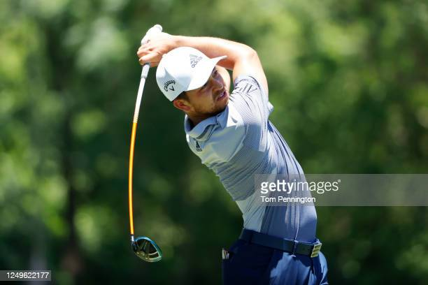 Xander Schauffele of the United States plays his shot from the third tee during the final round of the Charles Schwab Challenge on June 14, 2020 at...