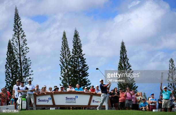 Xander Schauffele of the United States plays his shot from the third tee during the first round of the Sentry Tournament of Champions at Plantation...