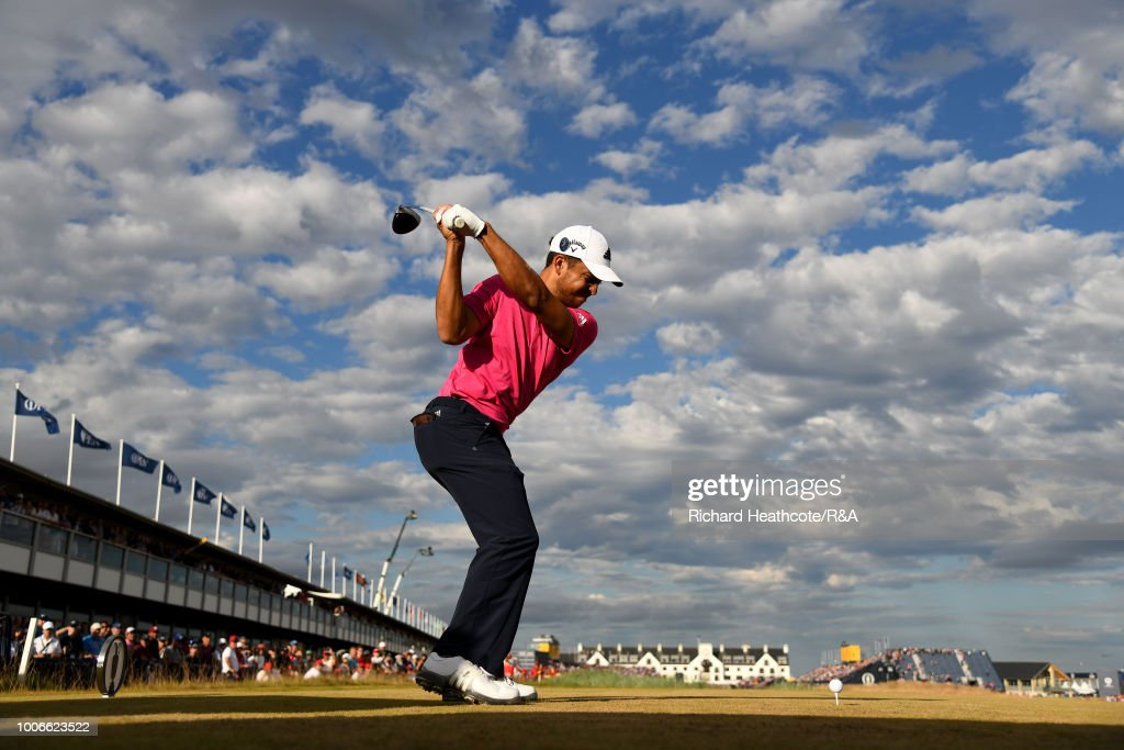 Xander Schauffele of the United States plays his tee shot on the 18th hole during the final round of the Open Championship at Carnoustie Golf Club on July 22, 2018 in Carnoustie, Scotland.