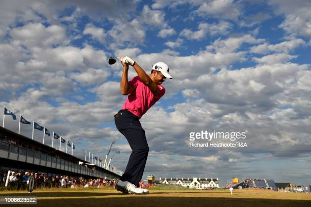 Xander Schauffele of the United States plays his tee shot on the 18th hole during the final round of the Open Championship at Carnoustie Golf Club on...