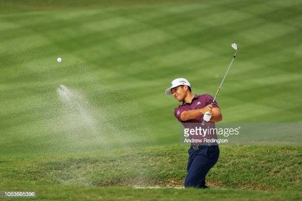 Xander Schauffele of the United States plays his third shot on the ninth hole during the second round of the WGC - HSBC Champions at Sheshan...