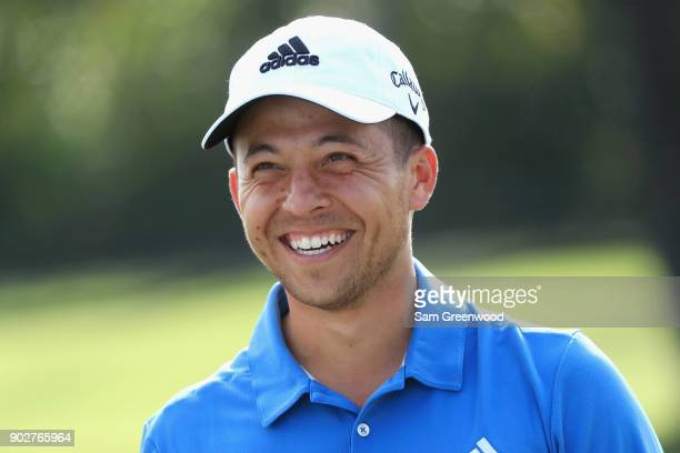 Xander Schauffele of the United States reacts during practice rounds prior to the Sony Open In Hawaii at Waialae Country Club on January 8 2018 in...