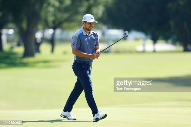 Xander Schauffele of the United States reacts on the 18th green during the final round of the Charles Schwab Challenge on June 14 2020 at Colonial...