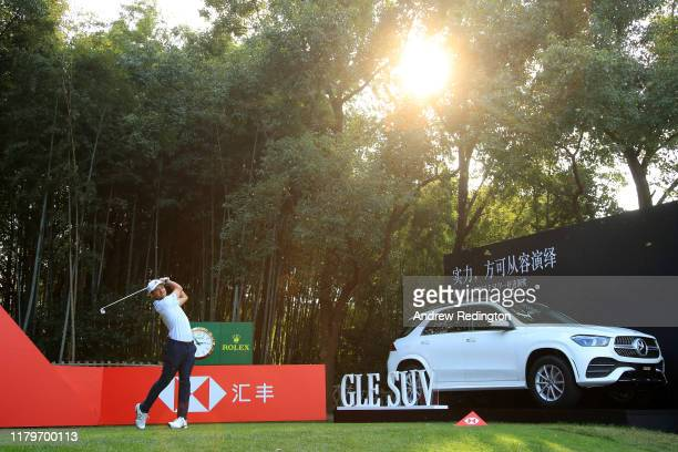 Xander Schauffele of the United States tees off on the 17th hole during Day Four of the WGC HSBC Champions at Sheshan International Golf Club on...