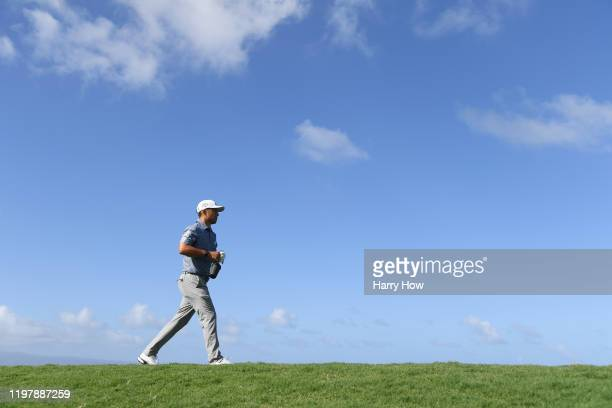 Xander Schauffele of the United States walks from the 10th tee during the final round of the Sentry Tournament Of Champions at the Kapalua Plantation...