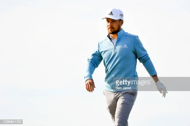Xander Schauffele on the 10th hole North course during the first round of the Farmers Insurance Open at Torrey Pines on January 28, 2021 in San...