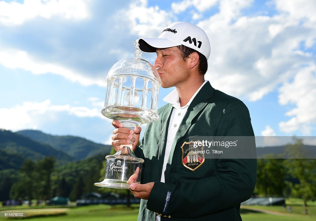 Xander Schauffele poses with the trophy after the final round of The Greenbrier Classic held at the Old White TPC on July 9, 2017 in White Sulphur Springs, West Virginia.