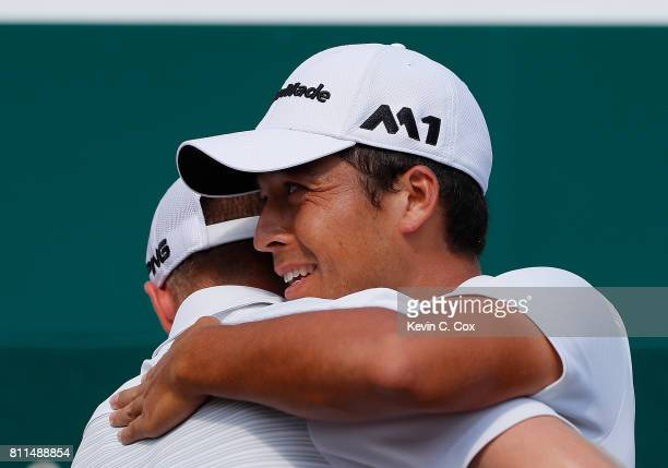 Xander Schauffele reacts after winning The Greenbrier Classic held at the Old White TPC on July 9 2017 in White Sulphur Springs West Virginia
