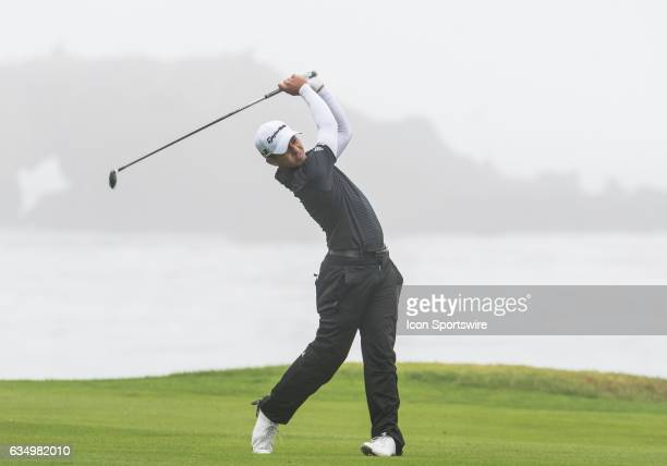 Xander Schauffele takes his second shot on the 5th fairway during the second round of the ATT Pebble Beach ProAm in Pebble Beach CA on Friday...