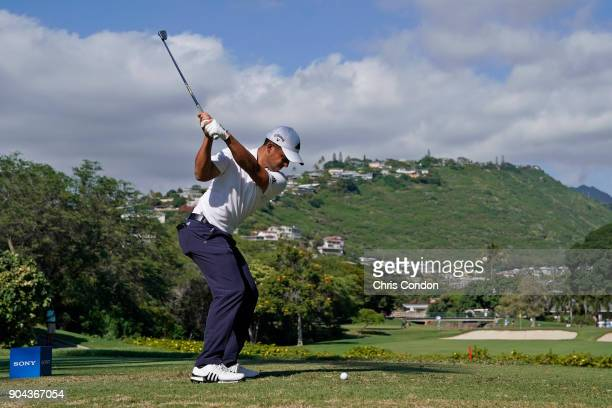 Xander Schauffele tees off on the 7th hole during the second round of the Sony Open in Hawaii at Waialae Country Club on January 12 2018 in Honolulu...