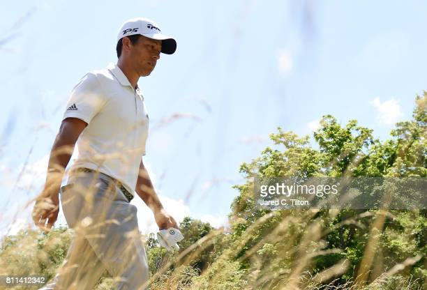 Xander Schauffele walks to the sixth tee during the final round of The Greenbrier Classic held at the Old White TPC on July 9 2017 in White Sulphur...