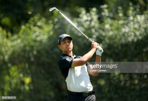 Xander Schauffle of the United States plays his tee shot on the par 3 third hole during the third round of the World Golf ChampionshipsMexico...