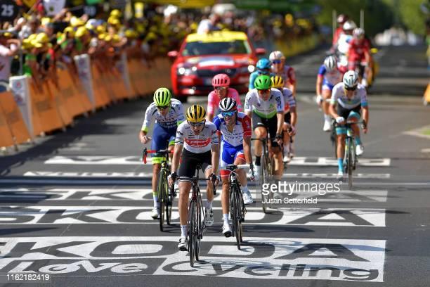 Xandro Meurisse of Belgium and Team Wanty-Gobert / Bauke Mollema of The Netherlands and Team Trek-Segafredo / Thibaut Pinot of France and Team...