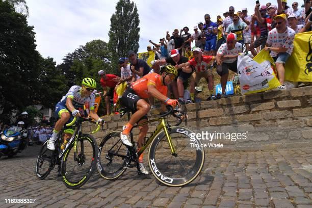 Xandro Meurisse of Belgium and Team Wanty-Gobert / Greg Van Avermaet of Belgium and CCC Team / De Muur van Geraardsbergen / Cobblestones / Fans /...