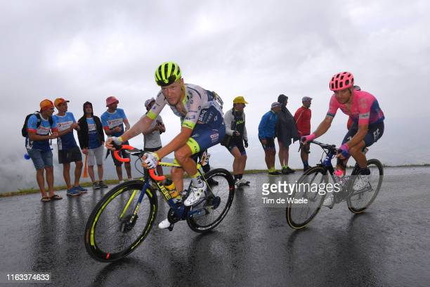 Xandro Meurisse of Belgium and Team Wanty-Gobert / Tanel Kangert of Estonia and Team EF Education First / Rain / Fans / Public / during the 106th...