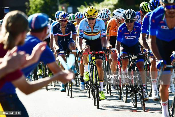 Xandro Meurisse of Belgium / during the Men Elite Road Race a 2585km race from Kufstein to Innsbruck 582m at the 91st UCI Road World Championships...