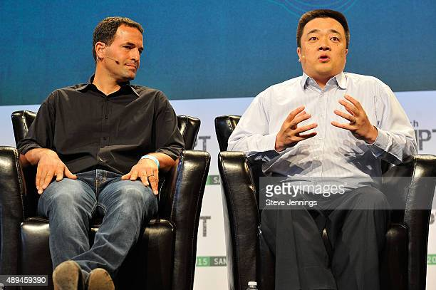 Xapo CEO Wences Casares and CEO of BTC China Bobby Lee speak onstage during day one of TechCrunch Disrupt SF 2015 at Pier 70 on September 21 2015 in...