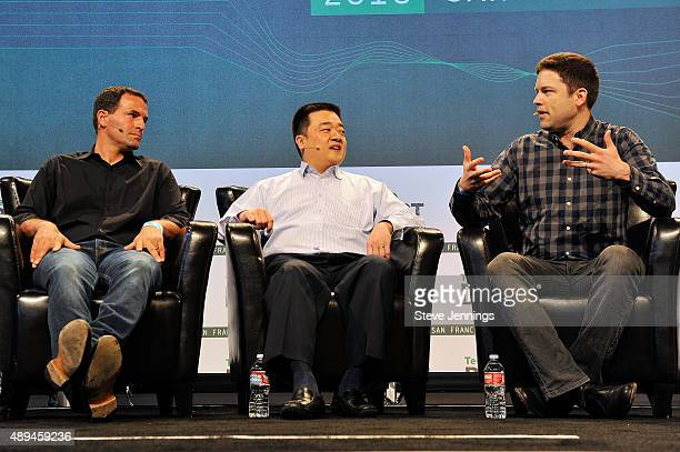 Xapo CEO Wences Casares CEO of BTC China Bobby Lee and reporter Nathaniel Popper of The New York Times speak onstage during day one of TechCrunch...