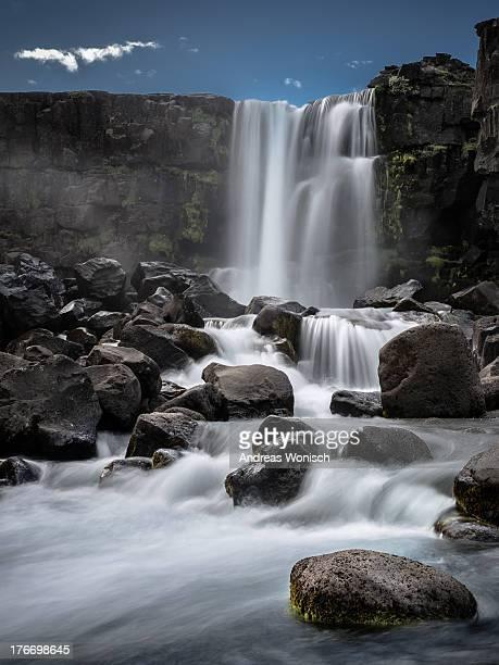 öxarafoss waterfall - thingvellir stock photos and pictures