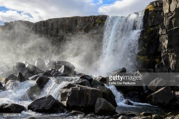 öxarárfoss waterfall at thingvellir national park, iceland - thingvellir national park stock photos and pictures