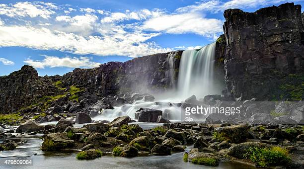 öxarárfoss waterfall in thingvellir national park, iceland. - pingvellir national park stock photos and pictures