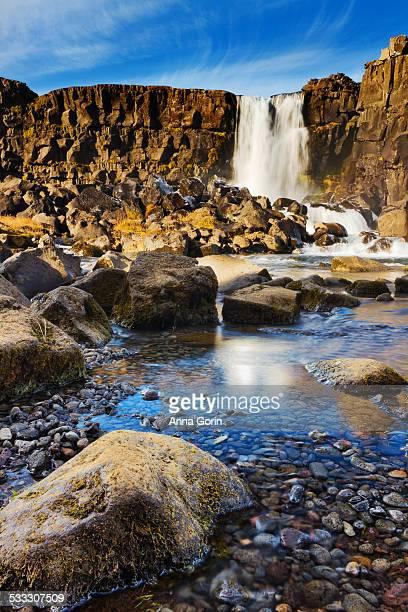 öxarárfoss waterfall - thingvellir national park stock photos and pictures