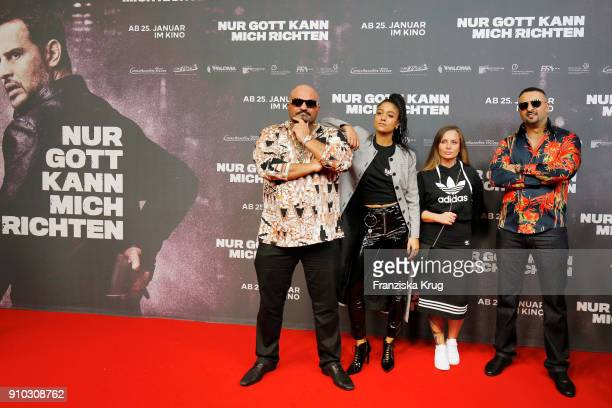Xatar Lary Schwesta Ewa and SSIO attend the 'Nur Gott kann mich richten' Screening at Cubix Alexanderplatz on January 25 2018 in Berlin Germany