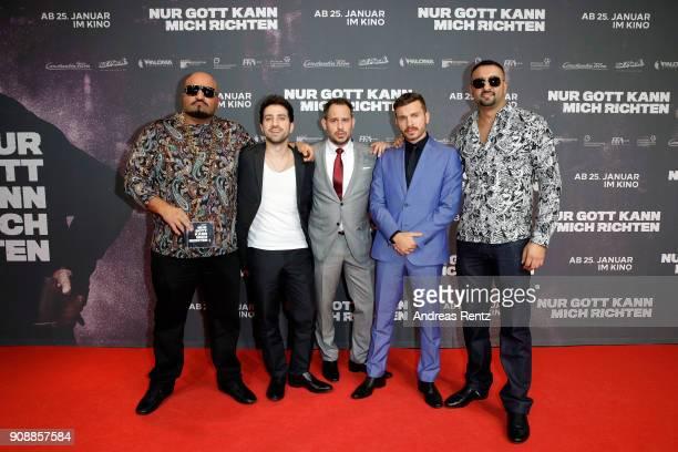 Xatar Oezgur Yildirim Moritz Bleibtreu Edin Hasanovic and SSIO attend the 'Nur Gott kann mich richten' premiere at CineStar Metropolis on January 22...