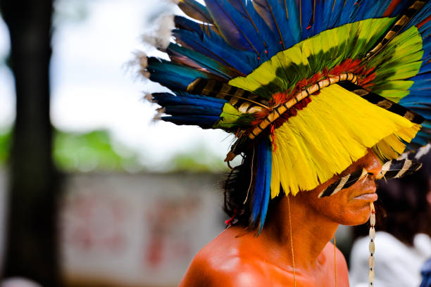 Xavante Indian during a cultural presentation