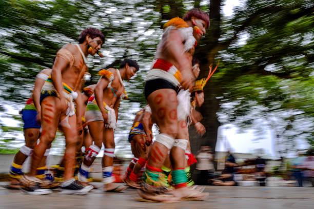 Xavante Indians performing a cultural presentation