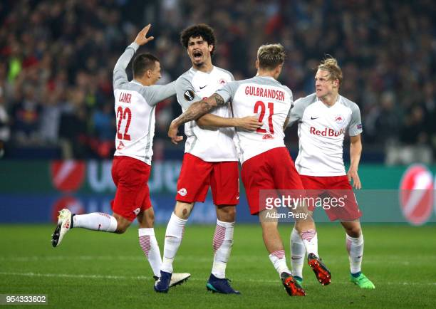 Xaver Schlager of Red Bull Salzburg celebrates scoring the 2nd Salzburg goal with team mates during the UEFA Europa Semi Final Second leg match...