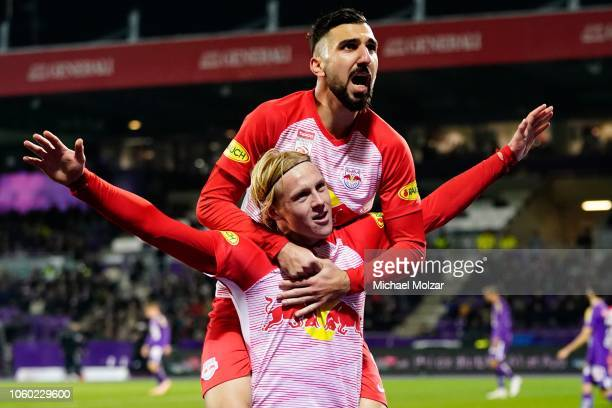 Xaver Schlager of Salzburg and Munas Dabbur of Salzburg are celebrating their goal during the tipico Bundesliga match between Austria Wien and RB...