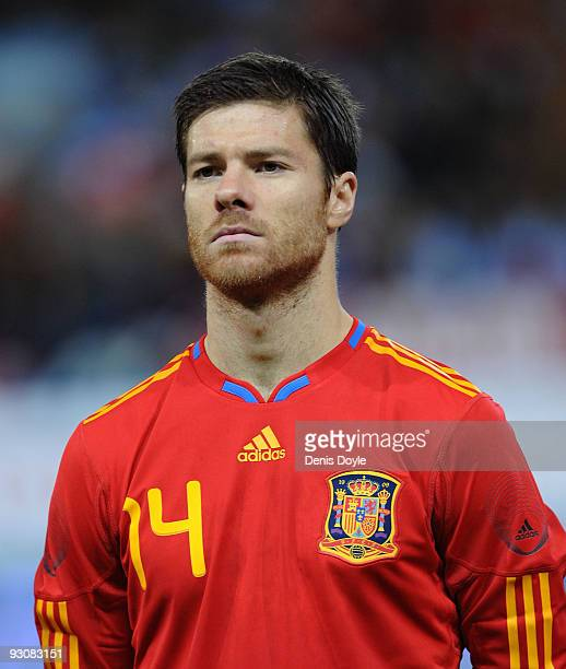Xavi Alonso of Spain linesup before the International friendly match between Argentina and Spain at the Vicente Calderon stadium on November 14 2009...