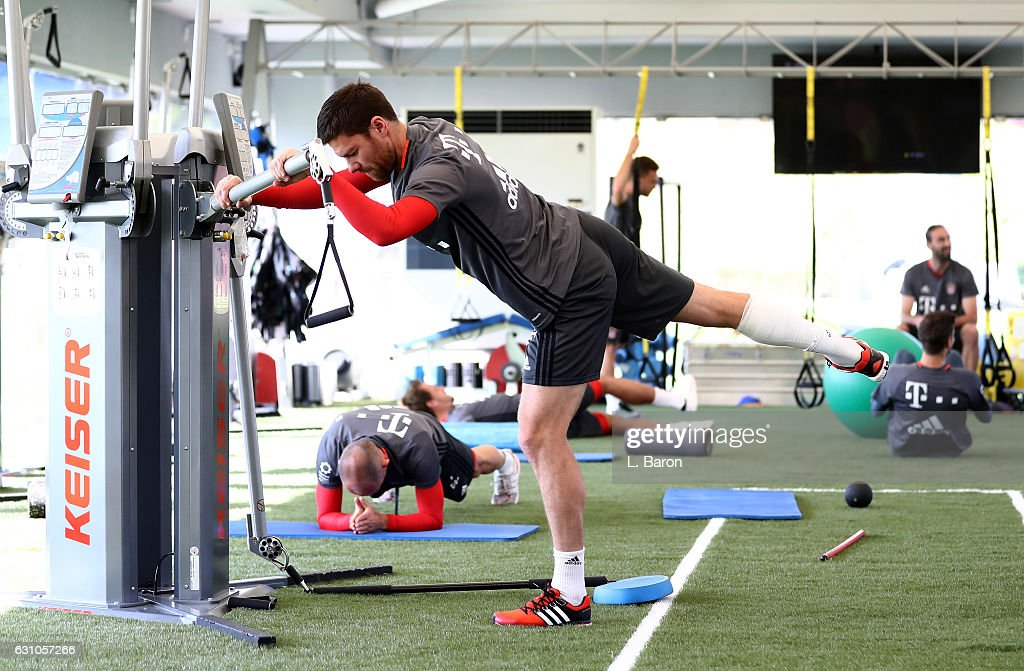 Xavi Alonso warms up in the gym during a training session at day 4 of the Bayern Muenchen training camp at Aspire Academy on January 6, 2017 in Doha, Qatar.