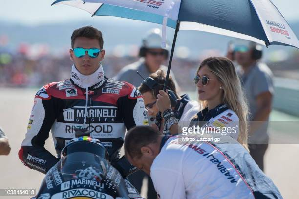 Xavi Cardelus of Andorra and Marinelli Snipers Team prepares to start on the grid during the Moto2 race during the MotoGP of Aragon Race at Motorland...