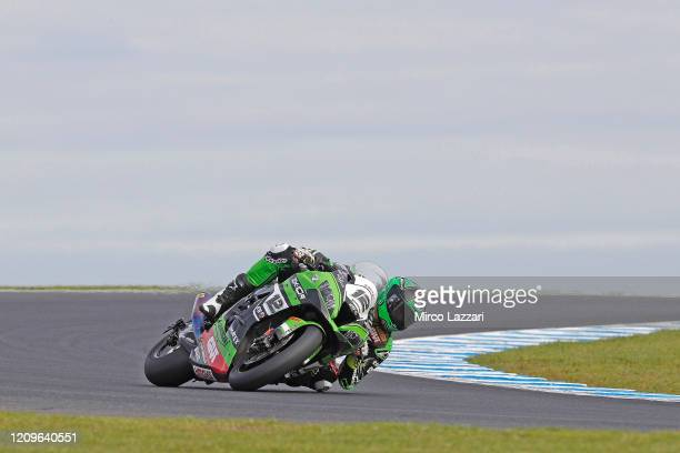 Xavi Fores of Spain and Kawasaki Puccetti Racing rounds the bend during the 2020 Superbike World Championship at Phillip Island Grand Prix Circuit on...