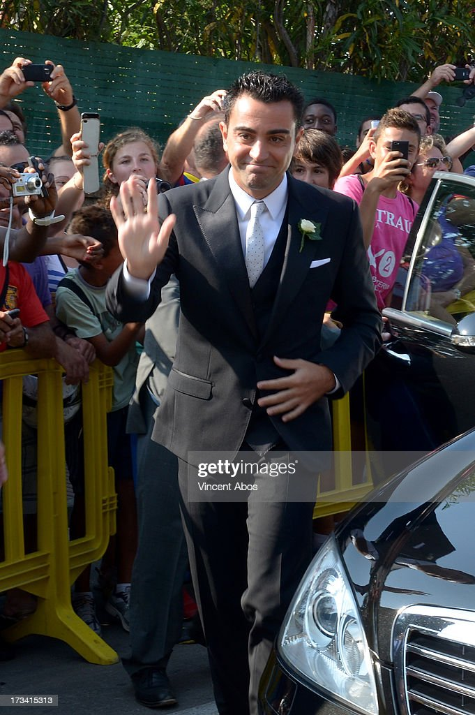 Xavi Hernandez arrives for his wedding to Nuria Cunillera at the Marimurtra Botanical Gardens on July 13, 2013 in Barcelona, Spain.